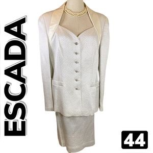 ESCADA COUTURE Quilted Skirt Set Suit (44)